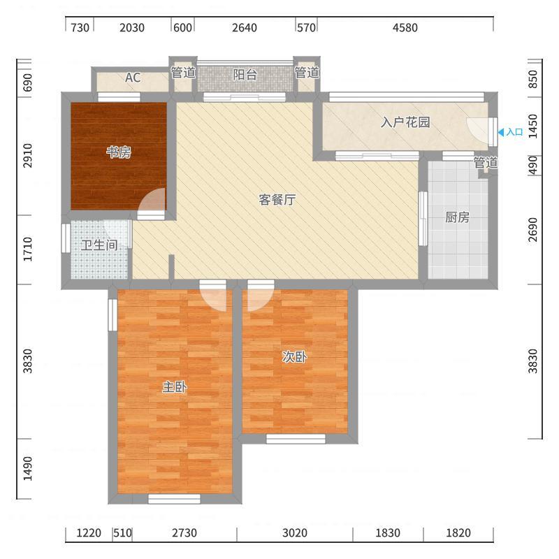 银河湾星苑110.00㎡E3户型3室2厅1卫1厨户型图