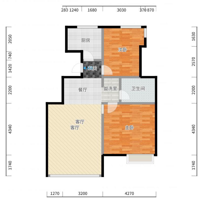 社会山201485.00㎡B5户型2室2厅1卫-副本户型图