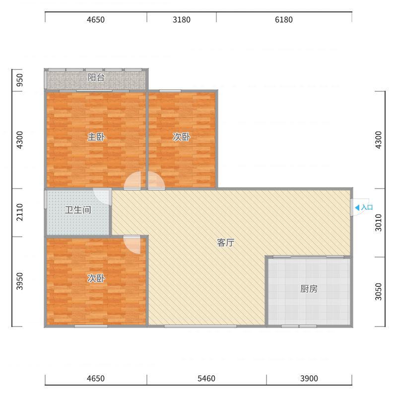 三居户型A4户型图