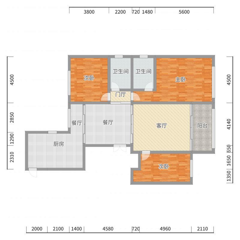 中发源时代广场3室2厅2卫1厨户型图