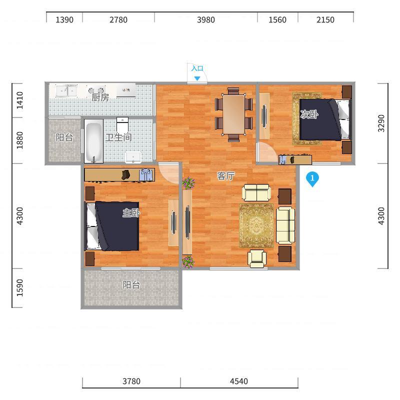 上隽佳苑86平米中间套2室2厅户型图