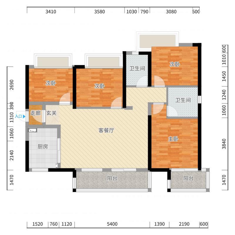 保利天禧133.00㎡A户型4室4厅2卫1厨-副本户型图
