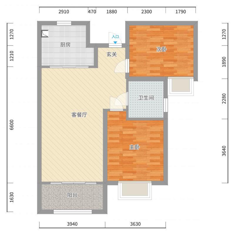 名士豪庭6-1-2802户型图