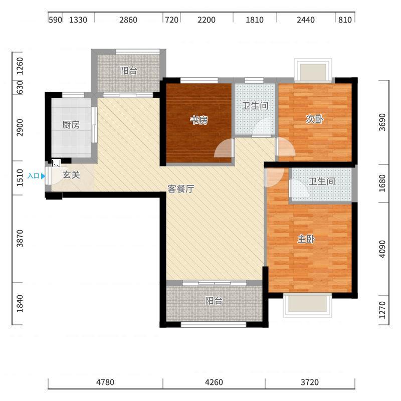 融信未来城118.00㎡1-7#B2户型3室3厅1卫1厨-副本户型图