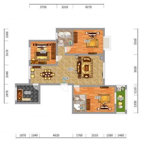 清华园C_副本户型3室2厅2卫1厨-副本-副本户型图