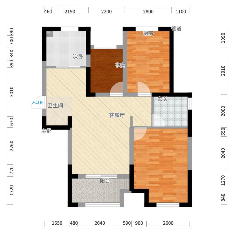 新城公园壹号93.00㎡新城公园壹号户型图93.39㎡D户型3室1厅1卫1厨户型3室1厅1卫1厨-副户型图