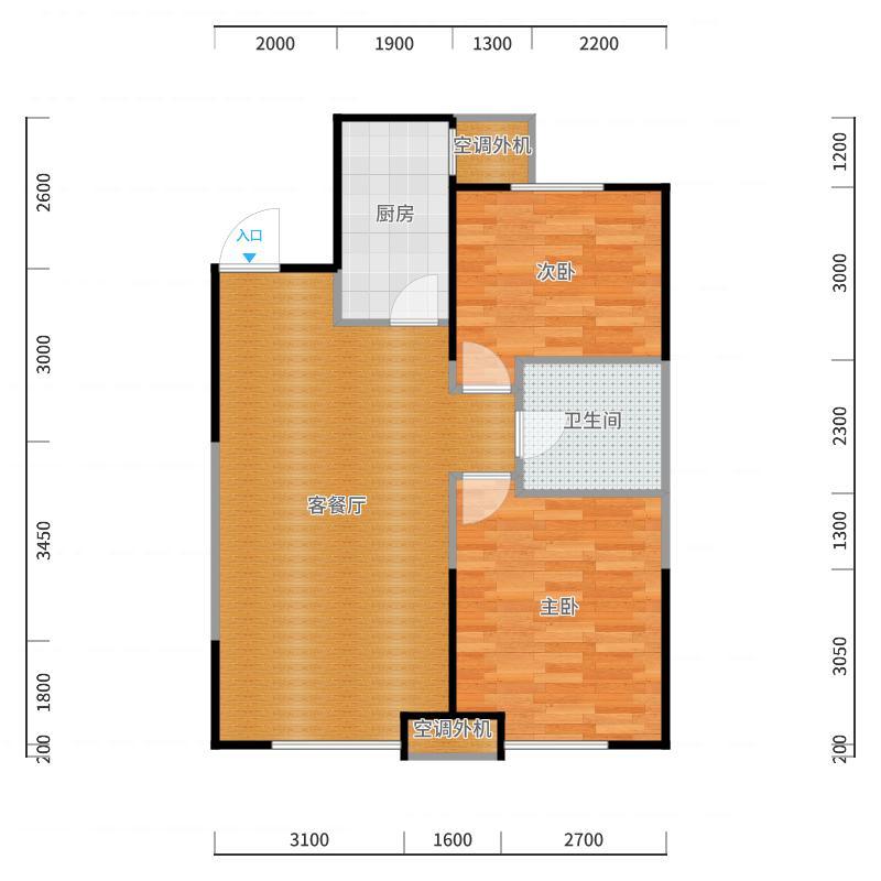 华润置地橡树湾B3户型2室2厅1卫户型2室2厅1卫户型图
