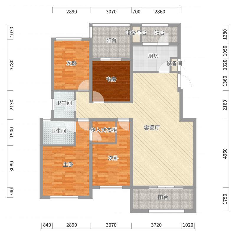 融科玖玖城153.63㎡融科玖玖城户型图B24室2厅2卫户型4室2厅2卫户型图