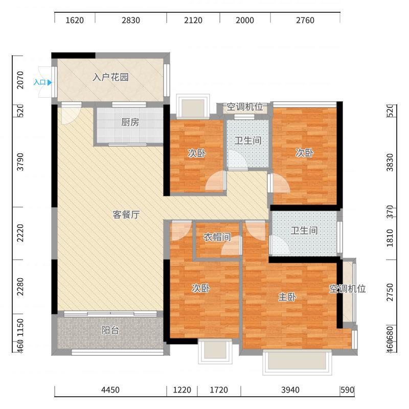万科金域蓝湾162.00㎡万科金域蓝湾户型图愉景湾1座03户型4室2厅2卫1厨户型4室2厅2卫1厨-户型图