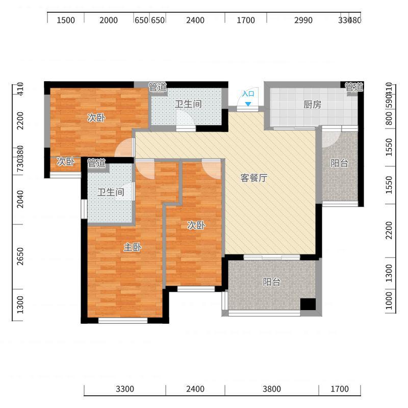 米夏家具--湘水湾A3君朗113.86平米全房定制方案-副本户型图