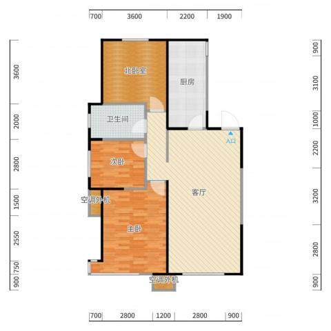 华润置地橡树湾二期D2户型2室2厅1卫户型2室2厅1卫户型图