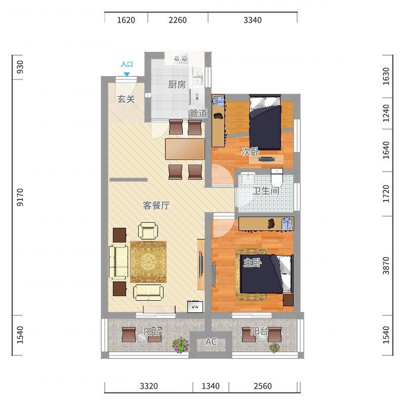 白河信合小区503姜先生客厅户型图