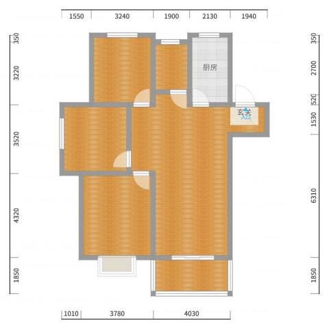 绿地理想城110.00㎡A户型3室3厅1卫1厨户型图