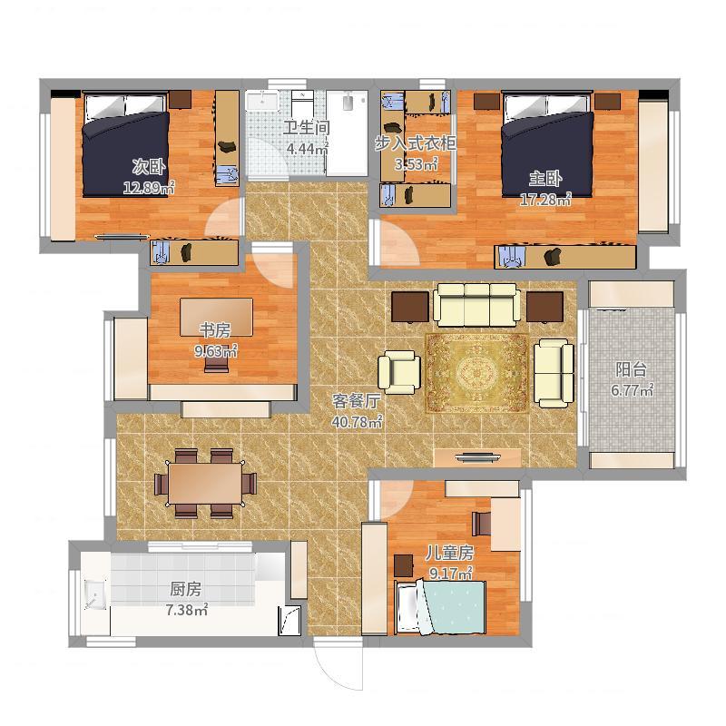 112方现代三居