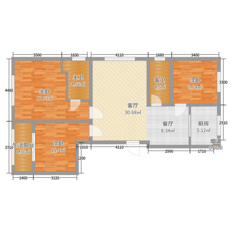 样板间-布雷西亚 3室1厅0卫1厨 88.16㎡全屋定制家具
