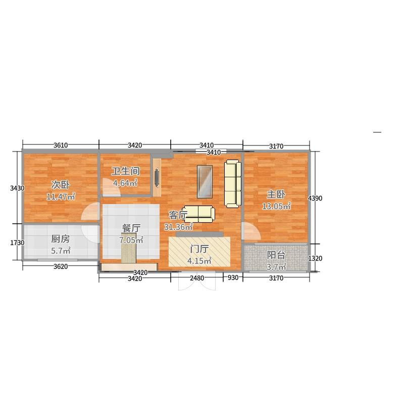 样板间-雨果波斯 2室1厅1卫1厨 69.93㎡全屋定制家具
