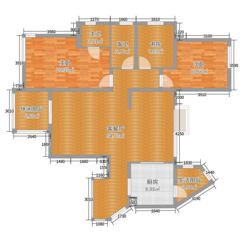 样板间-诺曼风情 3室2厅0卫1厨 124.41㎡全屋定制家具