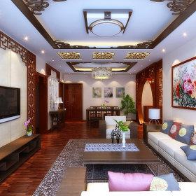 中式客厅单身公寓吊顶电视背景墙设计图