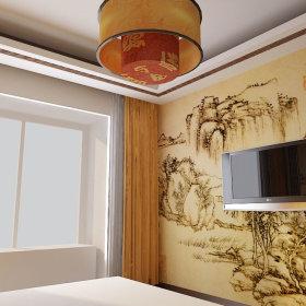 中式中式风格卧室三居背景墙电视背景墙设计图