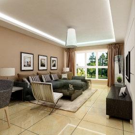 简约简约风格客厅背景墙沙发挂画装修图