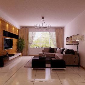 现代客厅跃层窗帘电视背景墙效果图