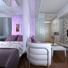 现代客厅一居室电视背景墙装修图