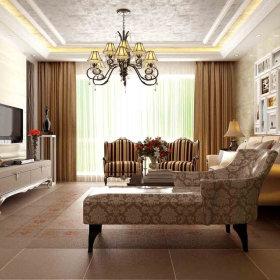 欧式客厅复式楼吊顶窗帘设计图