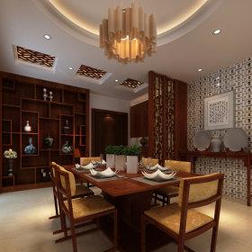 中式餐厅吊顶酒柜设计图