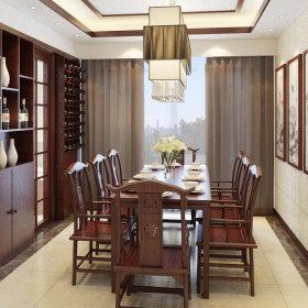中式餐厅吊顶酒柜装修图
