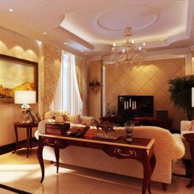 美式美式风格客厅吊顶电视背景墙装修效果展示