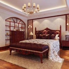 美式美式风格卧室老人房吊顶图片
