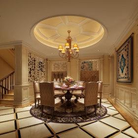 地中海地中海风格餐厅别墅吊顶设计方案