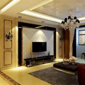 欧式客厅吊顶电视背景墙图片
