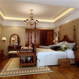 美式美式风格卧室跃层吊顶电视背景墙装修案例