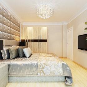 现代卧室吊顶电视背景墙装修效果展示