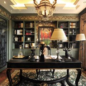 美式书房工作区图片