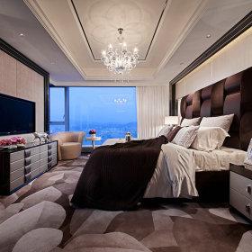 新古典卧室吊顶电视背景墙装修图
