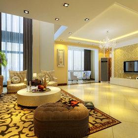 欧式欧式风格客厅跃层电视背景墙效果图