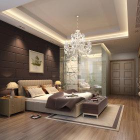 现代卧室复式楼吊顶电视背景墙设计方案