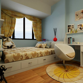 现代简约卧室窗帘装修图