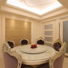 欧式新古典古典典雅古典风格沙发椅壁纸水晶吊灯装修图