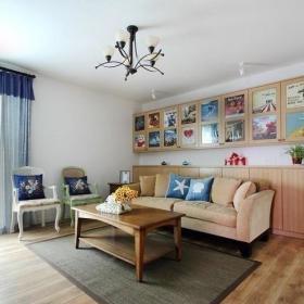 田园自然简约客厅窗帘背景墙沙发储物柜布艺沙发木地板效果图