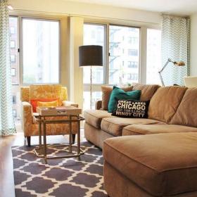 复古客厅沙发布艺沙发单人沙发装修效果展示