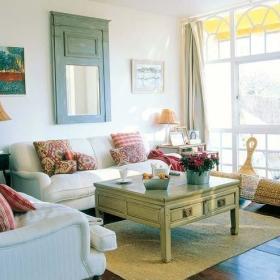 自然时尚客厅沙发茶几实木茶几布艺沙发椅藤椅案例展示