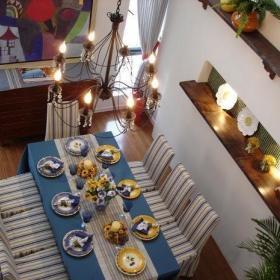 地中海自然地中海风格浪漫窗帘餐桌餐桌椅椅图片