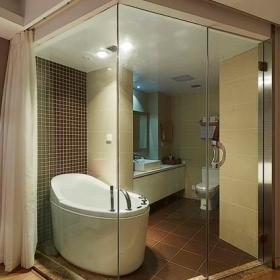现代时尚卫生间卫浴玻璃门装修图