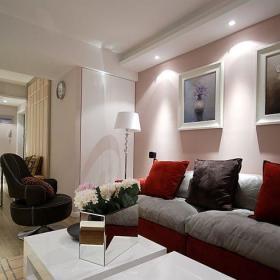 简约时尚背景墙沙发茶几布艺沙发射灯设计图