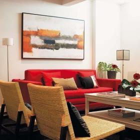 现代温馨现代风格客厅沙发茶几椅藤椅设计案例