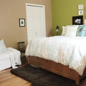 自然大床木床木地板装修图