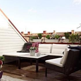 自然阳台沙发茶几双人沙发装修效果展示